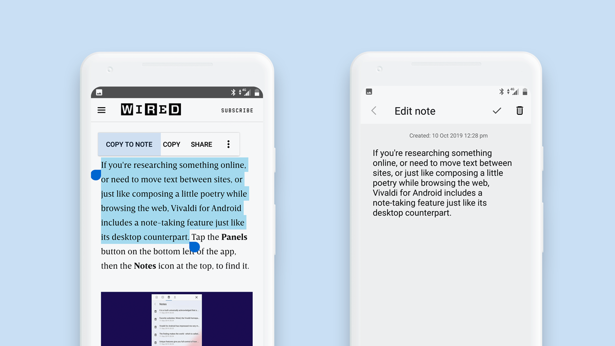 Illustration montrant comment depuis un page web sur Vivaldi sur Android il est possible de créer facilement une note