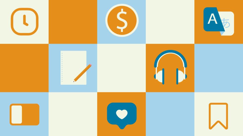 Illustration avec plusieurs icônes colorés telles que prises de notes, montre, écouteurs, etc pour représenter les possibilités de multitâches avec le navigateur Vivaldi
