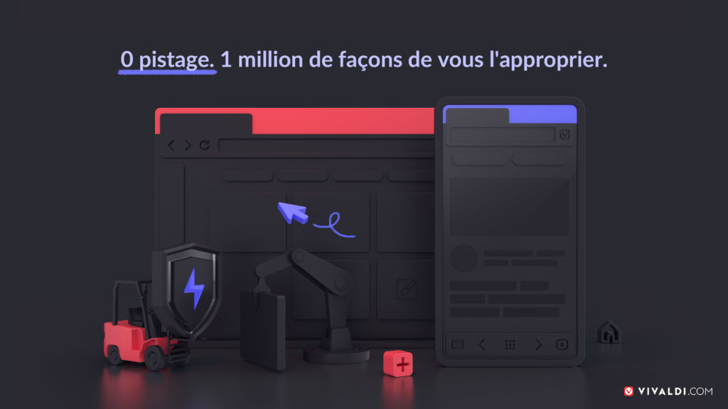 Illustration montrant Vivaldi sur desktop et sur portable en version dark