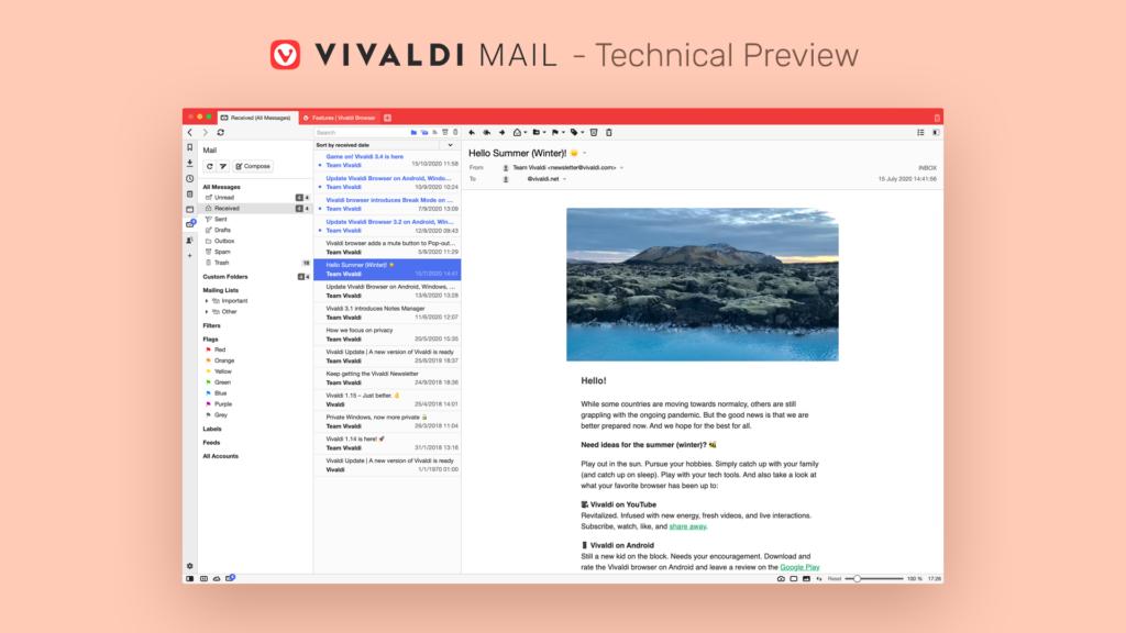Illustration du nouveau client Mail intégré de Vivaldi
